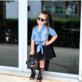 Kız Çocuk Üstü Kot Alt Tüllü Şık Elbise
