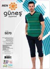 Güneş 5070 Kısa Kol Erkek Kapri Pijama Takımı