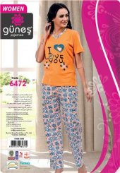 Güneş 6472 Kısa Kol Bayan Pijama Takımı
