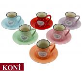 12 Parça Renkli Kahve Fincan Takımı. 6 Kişilik Porselen Set-3