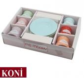 12 Parça Renkli Kahve Fincan Takımı. 6 Kişilik Porselen Set-5