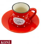 12 Parça Renkli Kahve Fincan Takımı. 6 Kişilik Porselen Set-4