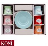 12 Parça Renkli Kahve Fincan Takımı. 6 Kişilik Porselen Set-6