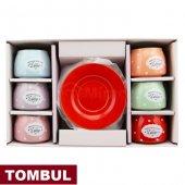 12 Parça Renkli Kahve Fincan Takımı. 6 Kişilik Porselen Set-9