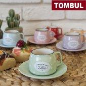 12 Parça Renkli Kahve Fincan Takımı. 6 Kişilik Porselen Set-10