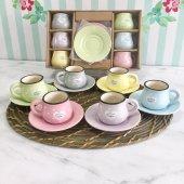 12 Parça Renkli Kahve Fincan Takımı. 6 Kişilik Porselen Set-11