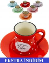 12 Parça Renkli Kahve Fincan Takımı. 6 Kişilik Porselen Set