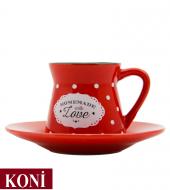 12 Parça Renkli Kahve Fincan Takımı. 6 Kişilik Porselen Set-7