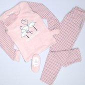 Flamingo Desenli Bayan Somon Peluş Pijama Takımı