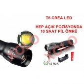 Light Crea Fener Led 12000 Lümen Şarjlı Kırılmaz Çok Fonksiyonlu Zoomlu El Feneri T6 Led Full-4