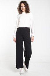 Nihan Örme Bol Paça Pantolon Siyah X4157