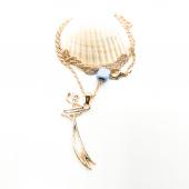 Gold Zülfikar Kılıcı Kılıcı Figürlü Mavi Boncuklu Kolye
