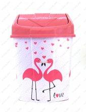 1 No Klik Çöp Kovası 3,5 Lt Flamingo Desenli
