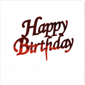 Partipan Pleksi Happy Birthday Pasta Üstü Süsü Kırmızı