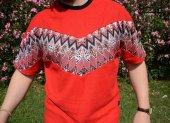 Aztec Stil Çiçek Desen Vintage Kırımızı Tişört-3