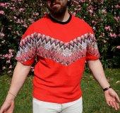 Aztec Stil Çiçek Desen Vintage Kırımızı Tişört-4