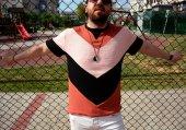 Aztec pramit vintage stil kremit renk tişört -3