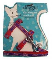 Doggie Gülücük Kedi Göğüs Tasması 22 36 Cm Kırmızı