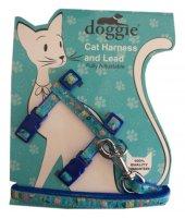 Doggie Kitty Kedi Göğüs Tasması 22 36 Cm Mavi