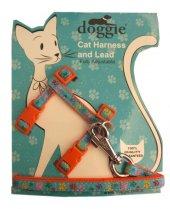 Doggie Patili Kedi Göğüs Tasması 22 36 Cm Turuncu