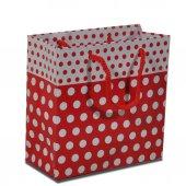 Partipan Beyaz Puantiyeli Karton Çanta Kırmızı 11x11 Cm 40lı