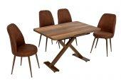Akay Ceviz Masası Kahve Sandalyesi Takımı