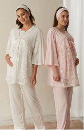 Baha Hamile Lohusa , Hamile Sabahlık Pijama Takımı 3321