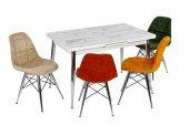 Aycan Tut Aç Beyaz Masa Takımı Renkli Sandalyeleriyle