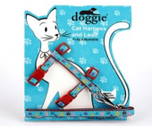 Doggie Etiket Süslü Ayarlanabilir Kedi Göğüs Gezdirme Takımı Kırmızı 25x30