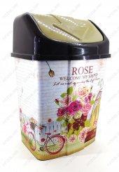 2 No Klik Çöp Kovası 8 Lt Rose Garden