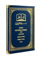 Isim Baskılı Osmanlı Desenli Ciltli Yasin Kitabı Orta Boy 176 Sayfa Lacivert
