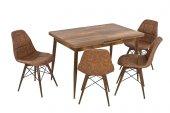 Beste Çağın Ayak Uyduğu Tasarım 4 Kahve Sandalye Bir Ceviz Masa