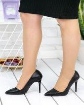 Skpem Siyah Cilt Stiletto Ayakkabı