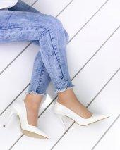 Skpem Beyaz Rugan Stiletto Ayakkabı
