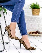 Skpem Leopar Süet Stiletto Ayakkabı