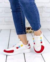 Julite Beyaz Cilt Kırmızı Süet Detaylı Spor Ayakkabı