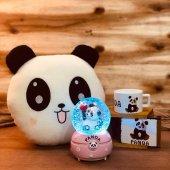 Sevimli Panda Müziki Kar Püskürten Gece Lambası Kar Küresi Ve Panda Yastık Kutulu Kupa Hediye Seti
