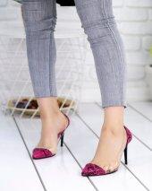 Miya Fuşya Desenli Cilt Şeffaf Stiletto Ayakkabı