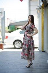Yazlık İnce Keten Elbise - Çiçekli