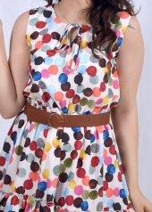 Renkli Puantiyeli Elbise-2