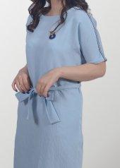 Mavi Keten Elbise-2