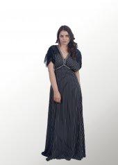 Çizgili Siyah Uzun Elbise-3