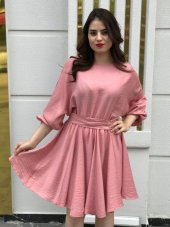 Kısa Keten Elbise - Pembe-2