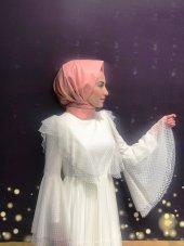 Tesettür Abiye Elbise - Ekru