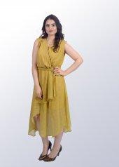 Asimetrik Sarı Elbise-2