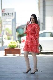 Yazlık Kısa Şifon Elbise - Nar Çiçeği