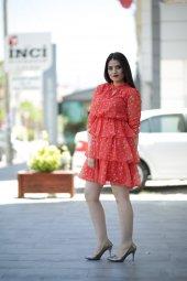 Yazlık Kısa Şifon Elbise - Nar Çiçeği-2