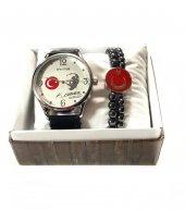 Atatürk İmzalı Ayyıldız Tasarımlı Erkek Kol Saati Ve Bileklik Set