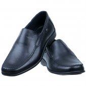 Siyah Baskılı Deri Burnu Dikişli Günlük Erkek Ayakkabı