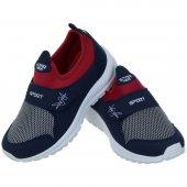 Lacivert Kırmızı Lastikli Cırtlı Spor Ayakkabı